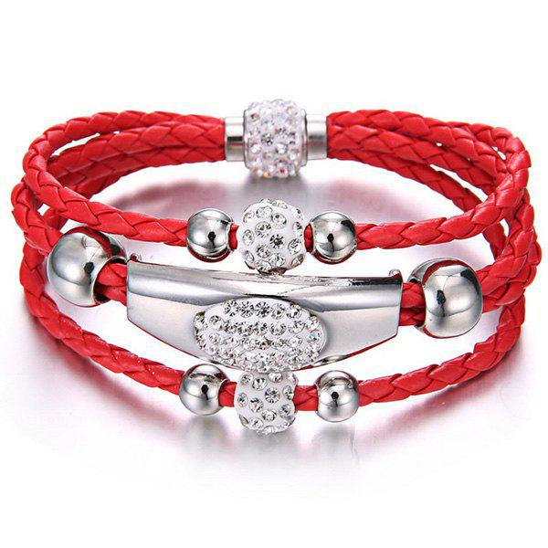 Rhinestone Beaded Layer Magnet Buckle Bracelet - RED