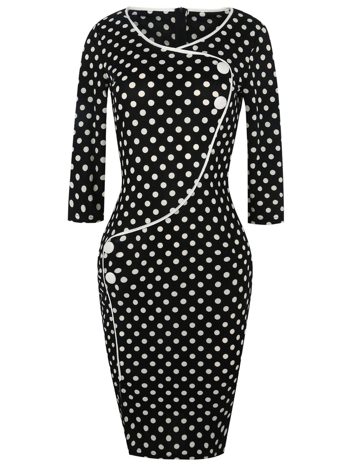Polka Dot Buttons Slit Work Dress polka dot slit hem contrast dress