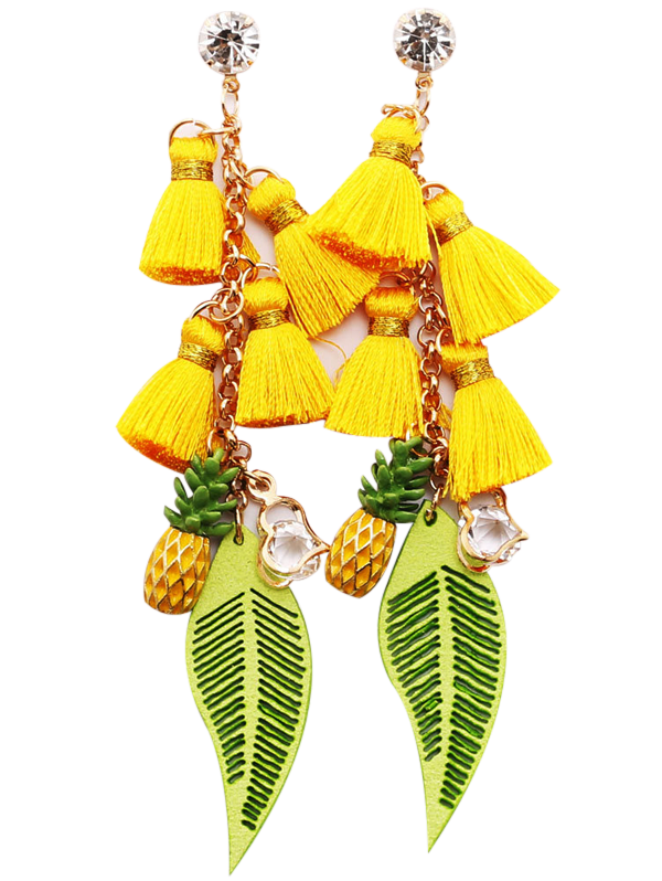 Rhinestone Tassel Pineapple Heart Chain Earrings dynamite baits xl pineapple