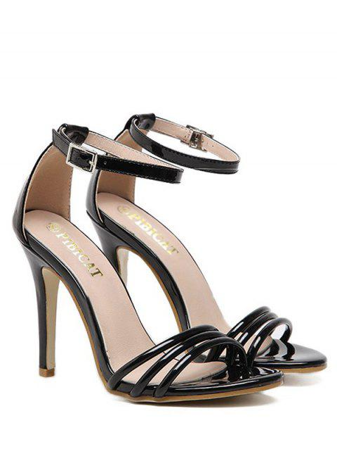 e0879b92bf60c 41% OFF] 2019 Strappy Ankle Strap Patent Leather Sandals In BLACK ...