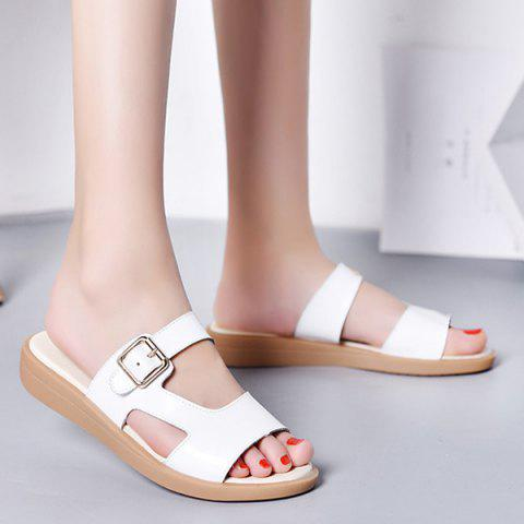 Belt Buckle Flat Heel Slippers - WHITE 40