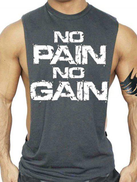 No Pain No Gain Bodybuilding Tank Top - DEEP GRAY XL