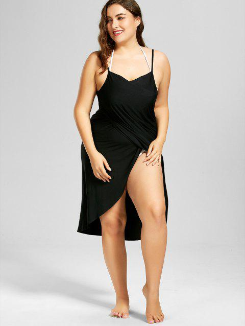 f90edc146c 52% OFF] 2019 Plus Size Beach Cover-up Wrap Dress In BLACK | DressLily