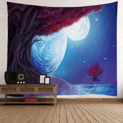 Oil Painting Tree Night Moon Wall Tapestry - LIGHT BLUE W51 INCH * L59 INCH
