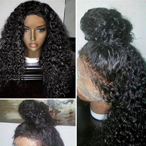 Free Part Shaggy Long Afro Curly Lace Front Human Hair Wig - NATURAL BLACK