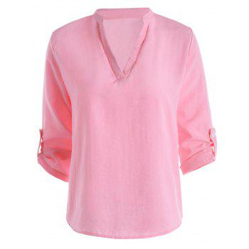 Notcked Collar Casual Blouse