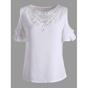 Cold Shoulder Lace Insert Beaded Blouse