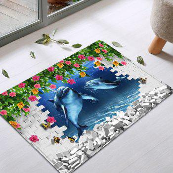 3d Dolphine Wall Pattern Indoor Outdoor Area Rug Colormix W Inch L2 Inch In Bath