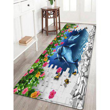 3D Dolphin Wall Pattern Indoor Outdoor Area Rug