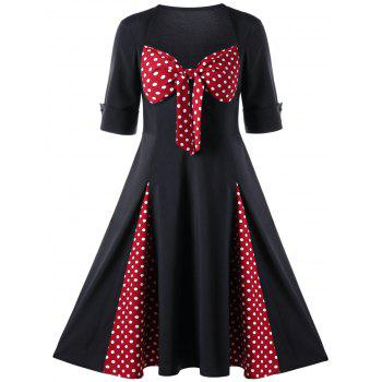 Sweetheart Neck Polka Dot 50s Swing Dress