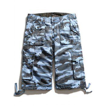 Zip Fly Multi Pockets Camouflage Cargo Shorts