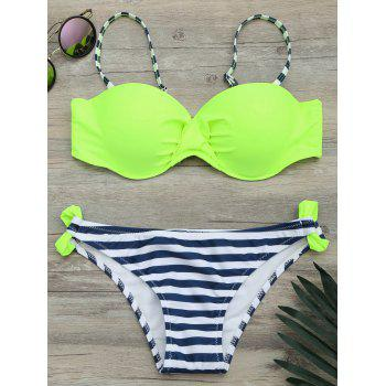 Twist Front Underwire Striped Bikini Set