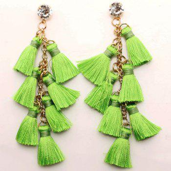Rhinestone Tassel Statement Chain Earrings