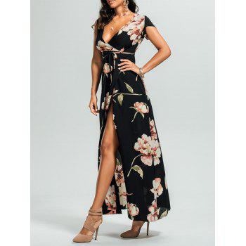 Split Floral Surplice Maxi Dress
