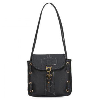 Metal Detail Faux Leather Shoulder Bag