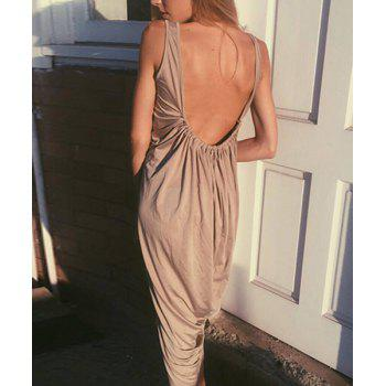 Casual Women's U Neck Sleeveless Backless Loose-Fitting Dress - KHAKI L