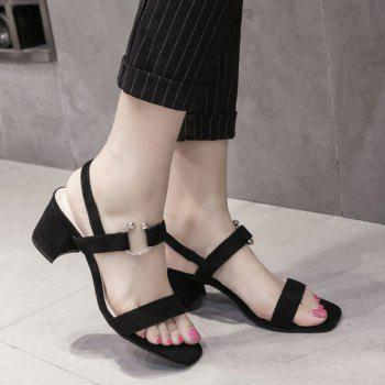 Metal Ring Block Heel Sandals