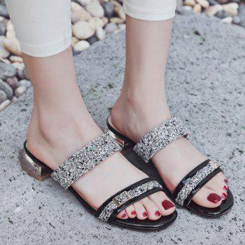Buckle Strap Sequins Slippers