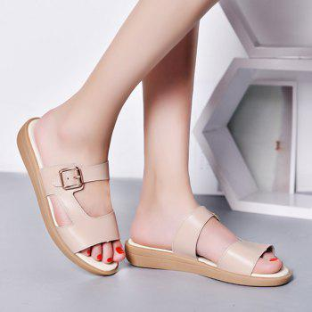 Belt Buckle Flat Heel Slippers