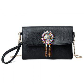 Beaded Wristlet Clutch Bag with Chains