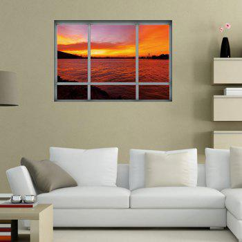 Marin Sunset Window Sticker en plastique amovible 3D - Brun rouge 48.5*68CM