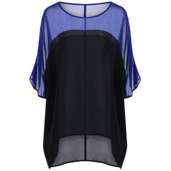 Plus Size Color Block Sheer Blouse