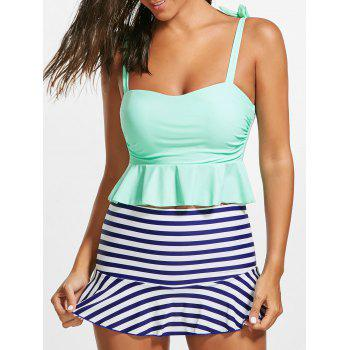 Striped Skirted Peplum Tankini Set