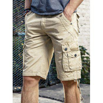 Zip Fly Drawstring Hem Cargo Pants