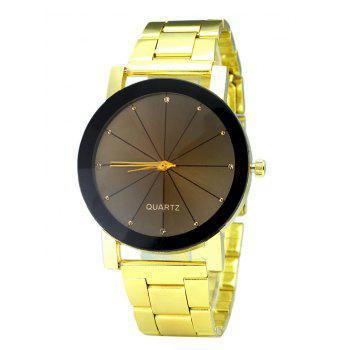 Steel Strap Rhinestone Analog Watch - GOLDEN GOLDEN