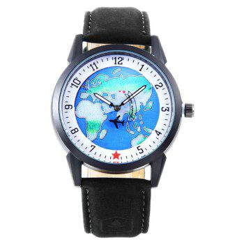 World Map Faux Leather Strap Watch - BLACK BLACK