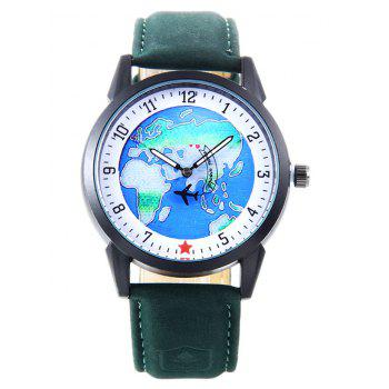 World Map Faux Leather Strap Watch - GREEN GREEN
