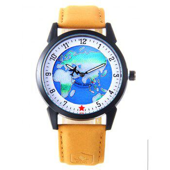 World Map Faux Leather Strap Watch - YELLOW YELLOW