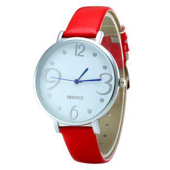 Round Faux Leather Strap Number Watch