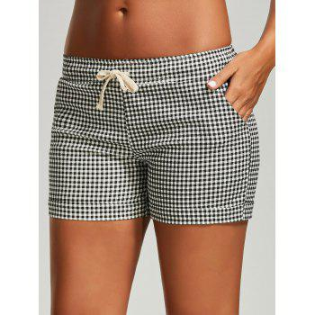 Drawstring Plaid Mini Shorts