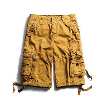 Zip Fly Straps Embellished Cargo Shorts