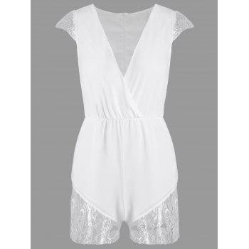 V Neck Lace Panel Romper