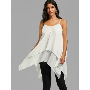 Layered Handkerchief Cami Tank Top - WHITE 2XL