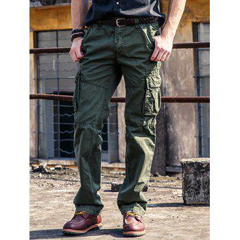 Zipper Fly Multi Pockets Straight Cargo Pants