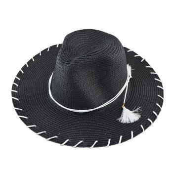Tassel Beach Fedora Straw Hat - BLACK BLACK