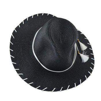 Tassel Beach Fedora Straw Hat -  BLACK