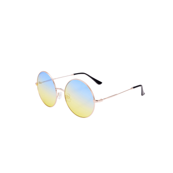 Round Metal Frame Ombre Sunglasses with Box