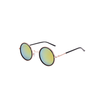 Mirrored Round Metal Frame Sunglasses and Box