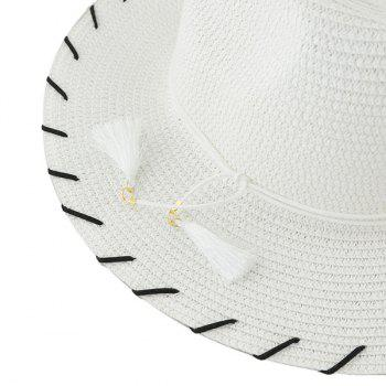 Tassel Beach Fedora Straw Hat -  WHITE