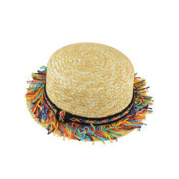 Rainbow Braid Tassel Beach Straw Hat - KHAKI