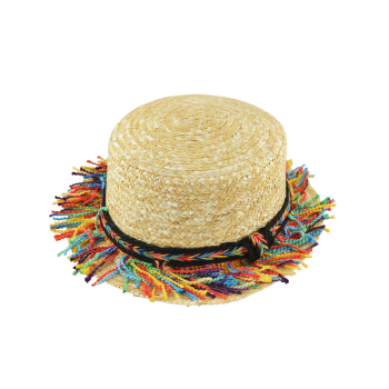 Rainbow Braid Tassel Beach Straw Hat