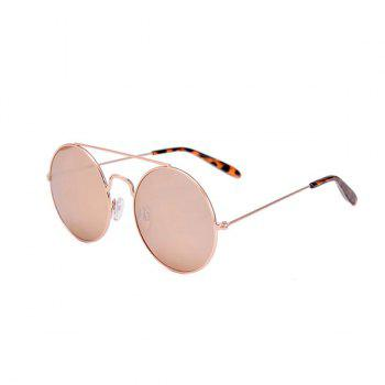Round Frame Leopard Print Temple Sunglasses with Box