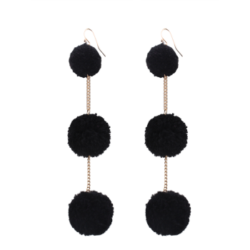 Fuzzy Ball Chain Hook Drop Earrings