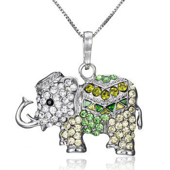 Artificial Crystal Inlaid Elephant Pendant Necklace
