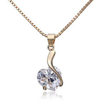 Heart Shape Faux Diamond Pendant Necklace