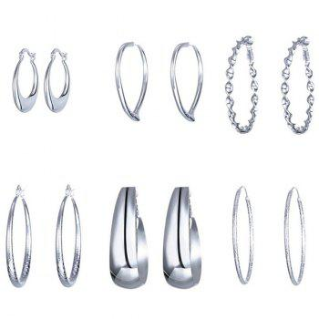 Different Design 6 Pairs Hoop Earrings Set